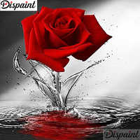 """Dispaint Full Square/Round Drill 5D DIY Diamond Painting """"Red rose flower"""" 3D Embroidery Cross Stitch 5D Home Decor A10702"""