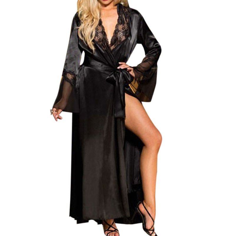 Womens Sexy Long Kimono Dress Lace Bath Robe Lingerie Gown Ice Silk Nightdress Solid Color Nightgown Nightwear Plus Size N20_D