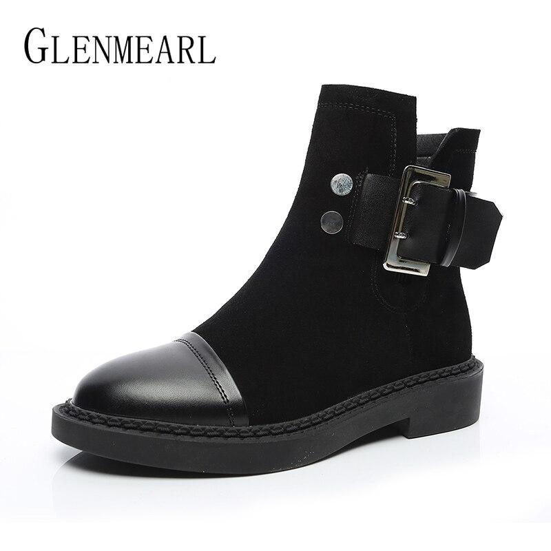 Женские ботинки из натуральной кожи, Зимние ботильоны, теплые плюшевые черные ботинки, женская повседневная обувь с круглым носком, Ботинки...