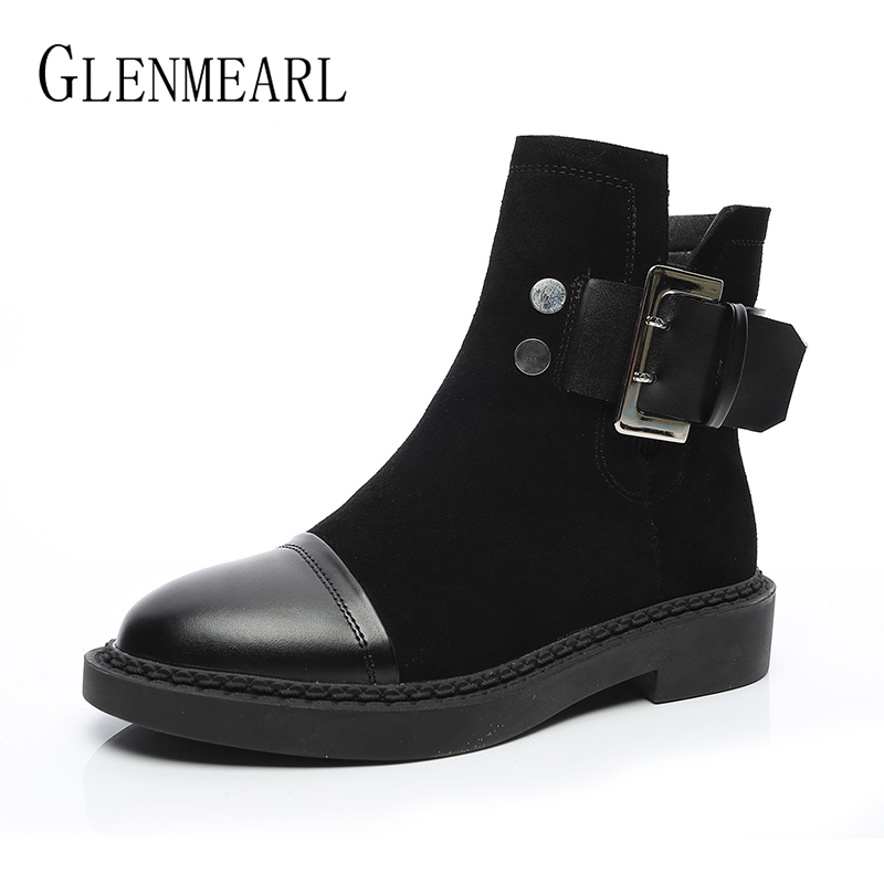 Women Boots Genuine Leather Winter Ankle Shoes Warm Plush Black Boot Female Round Toe Casual Ladies Shoe Platform Martin Boots