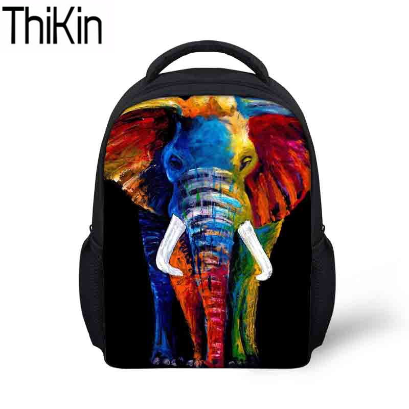 THIKIN Children School Bags for Kids 3D Elephant Printing Schoolbag Baby Mini Kindgarten Bagpack Boys Small Bookbag Shoulder Bag