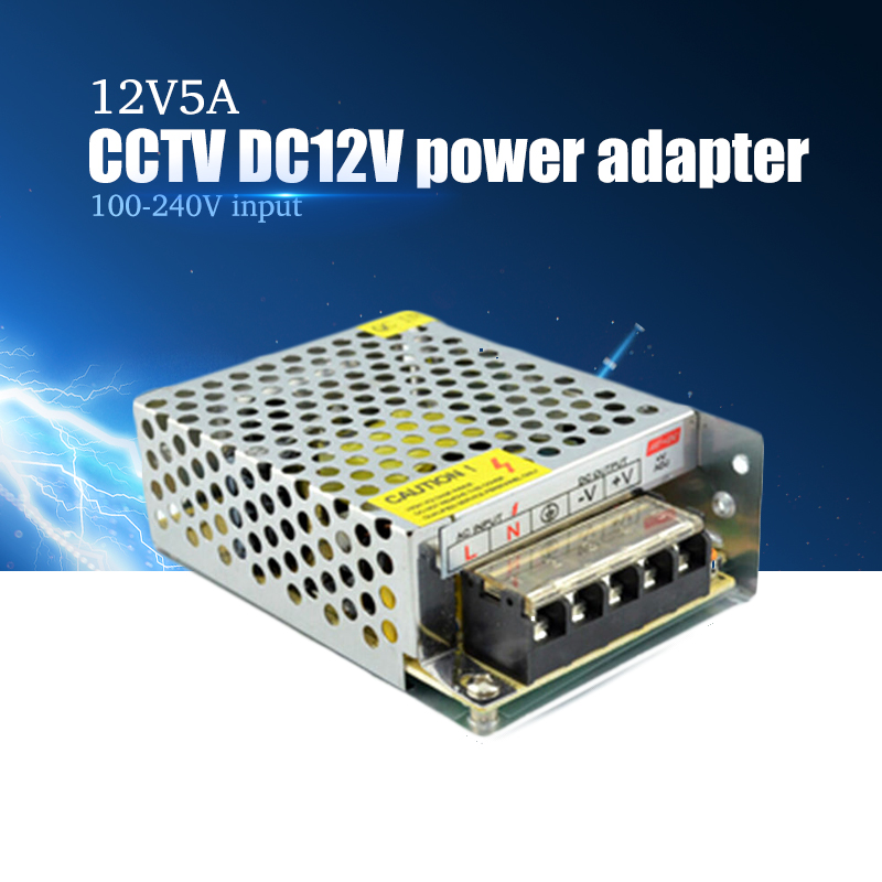 Hotsale DC 12V 5A Power Supply Adaptor for CCTV Camera CCTV System 12V 60W Security professional Converter Adapter free shipping