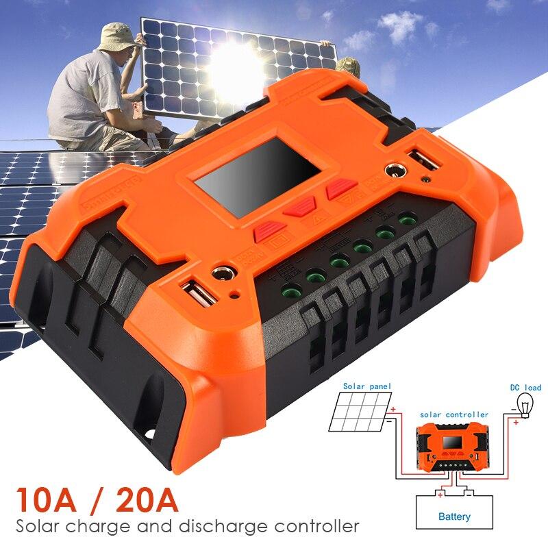 Vehemo 10A 20A PWM Солнечная энергия контроллер заряда солнечной батареи Регулятор солнечной панели для Интеллектуальный адаптер управления зарядным устройством
