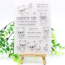 KSCRAFT Cute Raccoon Transparent Clear Silicone Stamps for DIY Scrapbooking/Card Making/Kids Fun Decoration Supplies