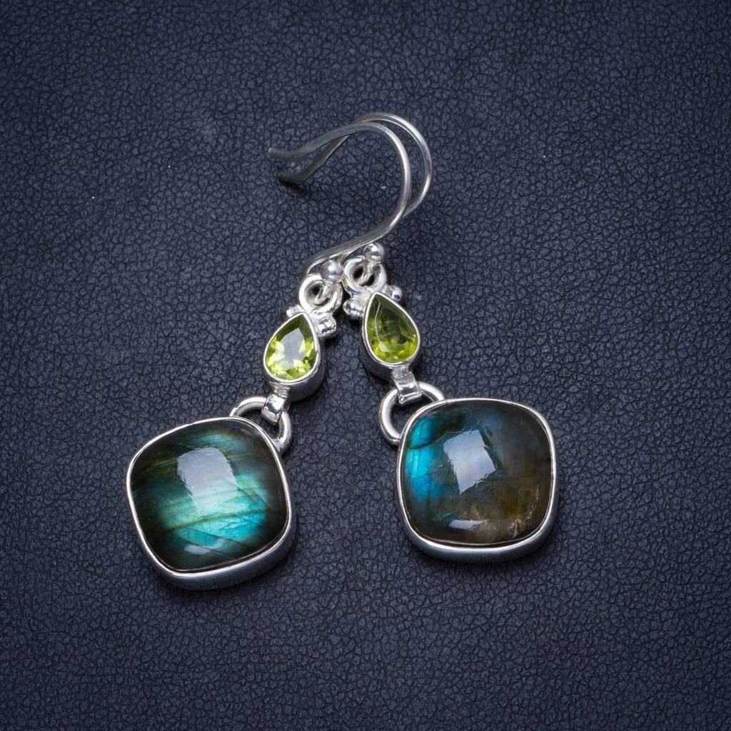 Natural Blue Fire Labradorite and Peridot Unique 925 Sterling Silver Earrings 1.5 X3576 natural blue fire labradorite handmade boho 925 sterling silver earrings 1 25 u0962