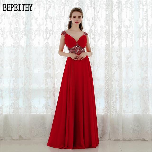 BEPEITHY Vestido Longo Elegant V Neck Long Evening Dress Chiffon ...