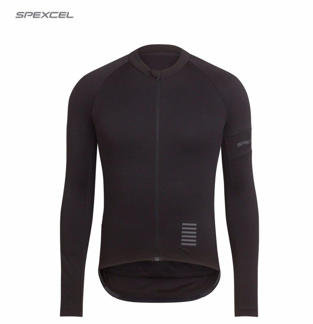 Prix pour Spexcel 2017 haute qualité pro équipe course formation vélo jersey à manches longues route vtt pleine noir vélo vêtements livraison gratuite