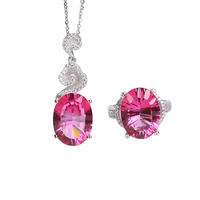wholesale brand zircon 925 sterling silver natural gemstone pink topaz crystal ring pendant necklace jewelry set