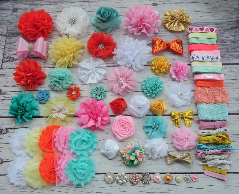 ФОТО DIY Headband Making Kit, Shower Headband Station Kit,First Birthday Party Headband Kit,Hair Bow Kit ,pink,orange,mint,S40