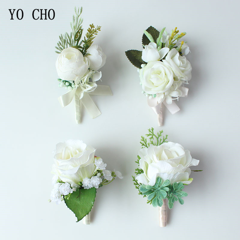 YO CHO Bridal Silk Roses White Wrist Corsages Cuff Bracelets Bridesmaid Groom Flower Boutonnieres Prom Marriage Wedding Supplies