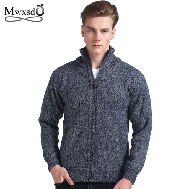 c90bdf80de959 Mwxsd marca hombres casual rayado grueso cardigan suéter cremallera  masculina punto Cardigan para hombres invierno hombres