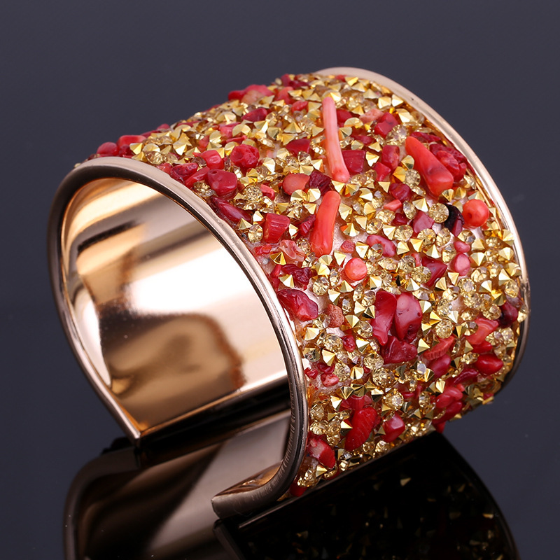 Classic Druzy Stones Rhinestone <font><b>Open</b></font> Bangles For Female 6 Colors Women's Wide Cuff <font><b>Bracelets</b></font> Factory Price Dropshipping Supplier image