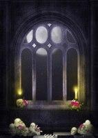 Photography fondo de tela de vinilo luna noche de Halloween terror skull base 150x210 cm foto de fondo SJOLOON