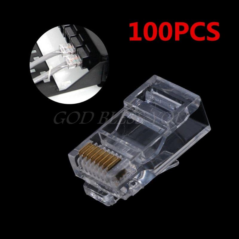 100PCS Gold Plated RJ45 Net Network Cables Modular Plug Cat5 CAT5e Connector 8P8C Utp Unshielded Modular Rj45 Plug Terminals
