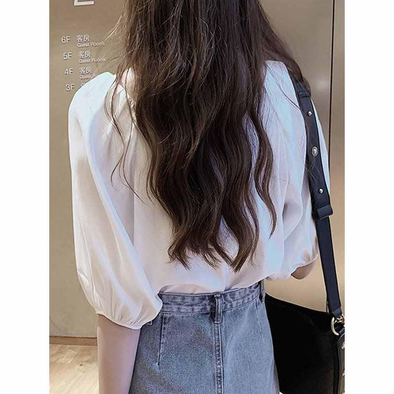 Женская шифоновая блузка с v-образным вырезом Винтажное с рукавами-фонариками женская летняя Однотонная рубашка однотонная одежда с коротким рукавом 2019 модные женские топы