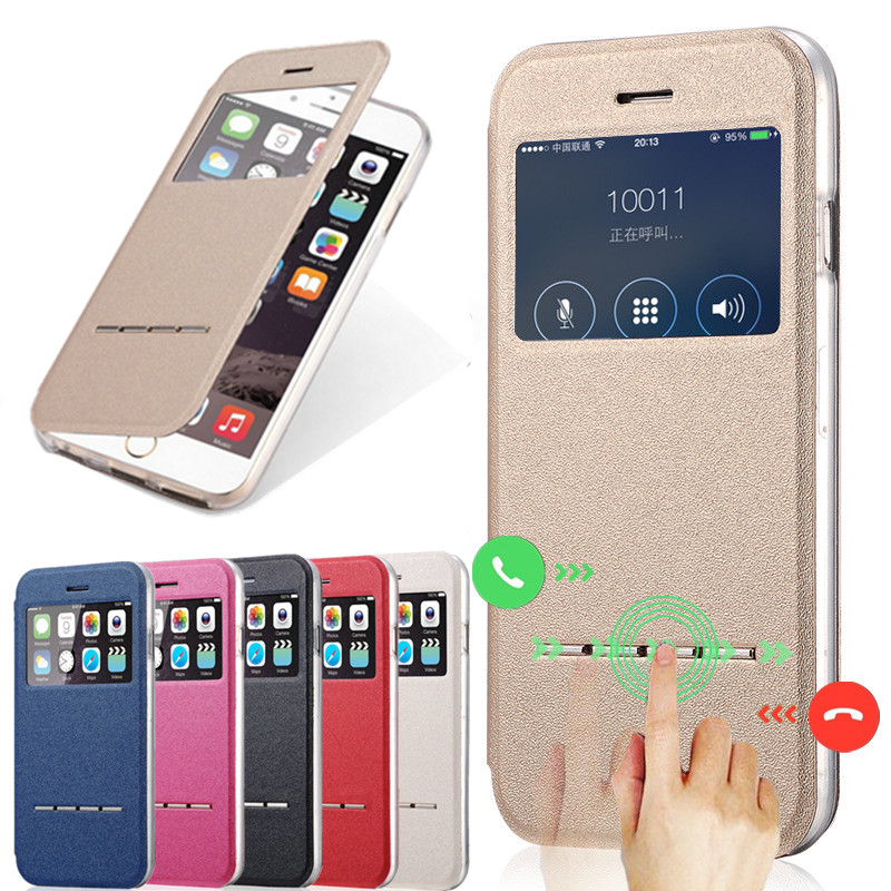 Für iPhone 6S Hülle Luxus Smart Answer Schiebefenster für iPhone On 4 4S 5 5S 5SE 6 6s Plus Full Bag Cover Cases On 6 6S SE