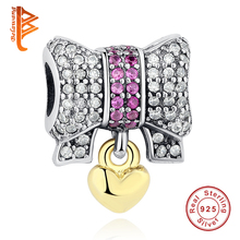 BELAWANG Fit Original Women Charm Bracelet 925 Silver 2019 Winter DIY Berloque Bow Gold Heart Charms Beads for Jewelry Making