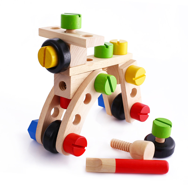 Baby DIY Wooden Air Plane Model Assembly Nut Screw Building Blocks Toys Tools Kit