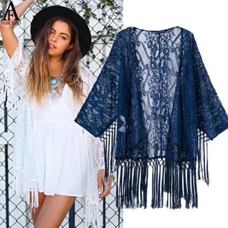 Crochet blouse fashion women's blue white floral kimono tropical ...