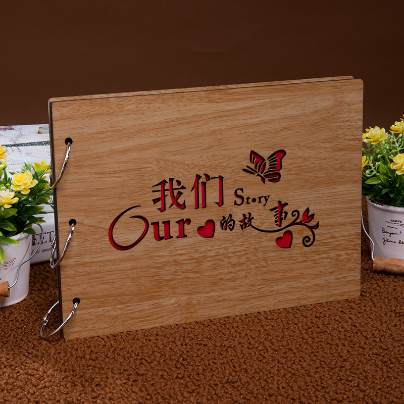 Diy Wedding Anniversary Gifts: Fashion DIY Hollow Wooden Cover Photo Album Bithday