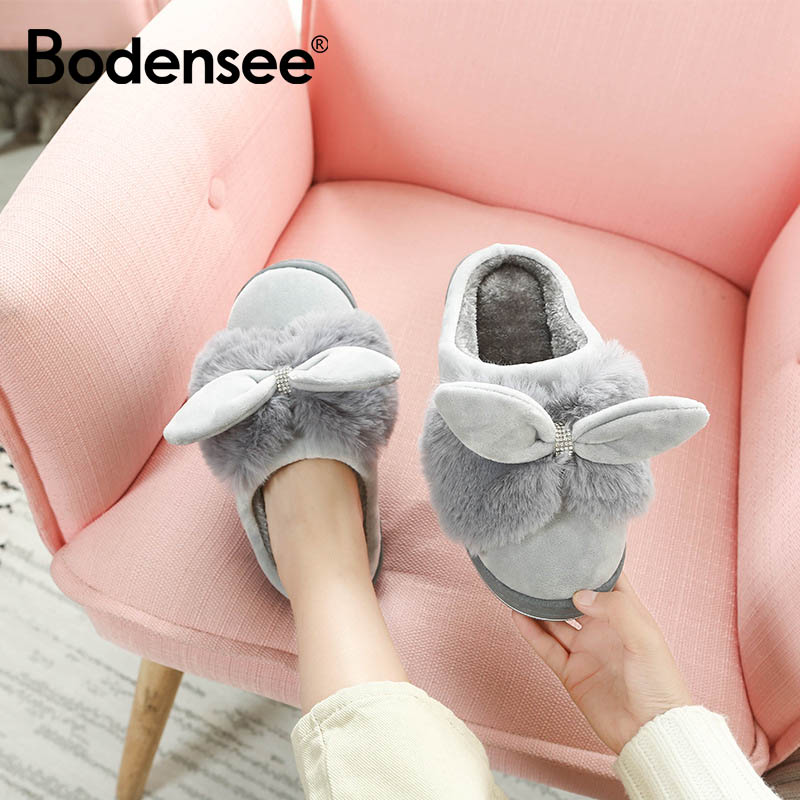 BODENSEE Winter Home Slippers Women Warm Cotton Bow Stone Fabric Slipper Indoor Mute Non-slip Rabbit Ears Flat Women Shoes SP54BODENSEE Winter Home Slippers Women Warm Cotton Bow Stone Fabric Slipper Indoor Mute Non-slip Rabbit Ears Flat Women Shoes SP54