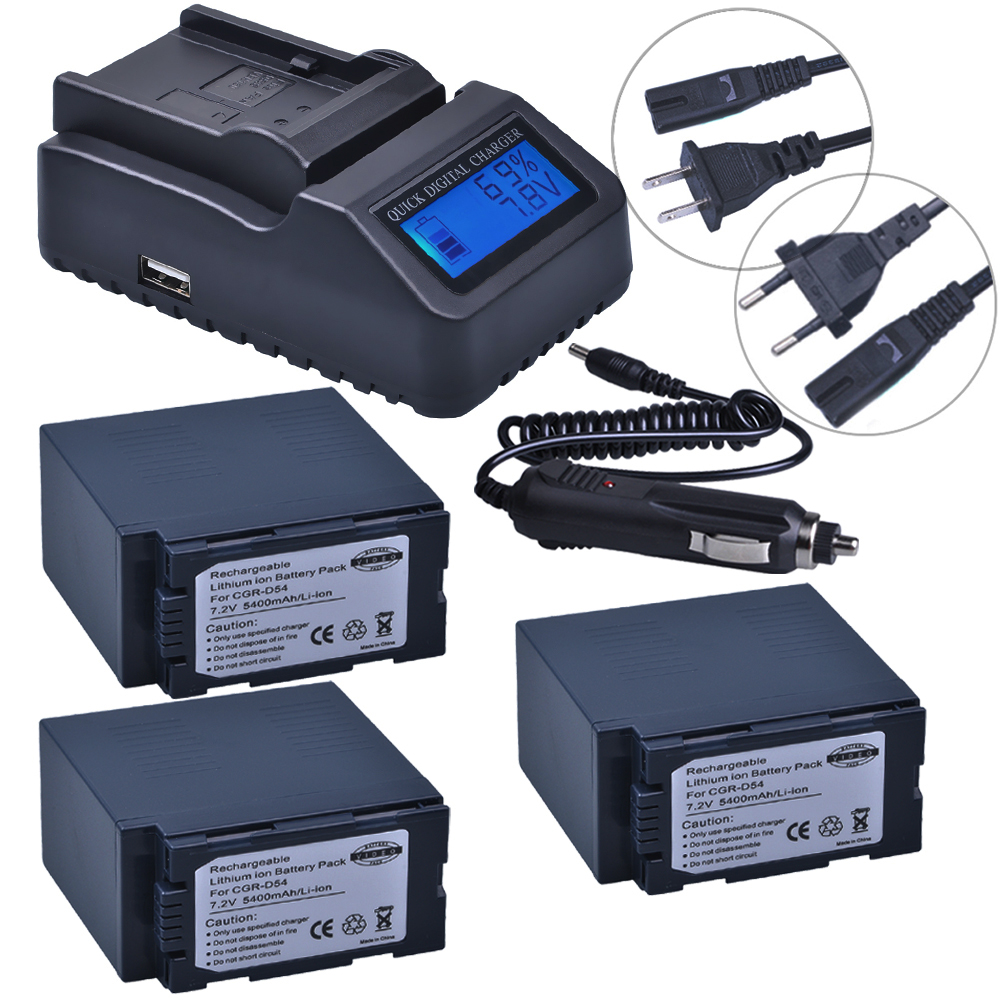 3pc 5400mAh CGA-D54 CGA D54 D54S Bateria + Ultra Fast LCD Quick Charger for Panasonic CGA-D54S CGA-D220 CGA-D320 CGA-D54 Battery