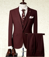 fashion men suits wool Groom suits male slim suit male red formal 3 pieces set wedding dress fashion