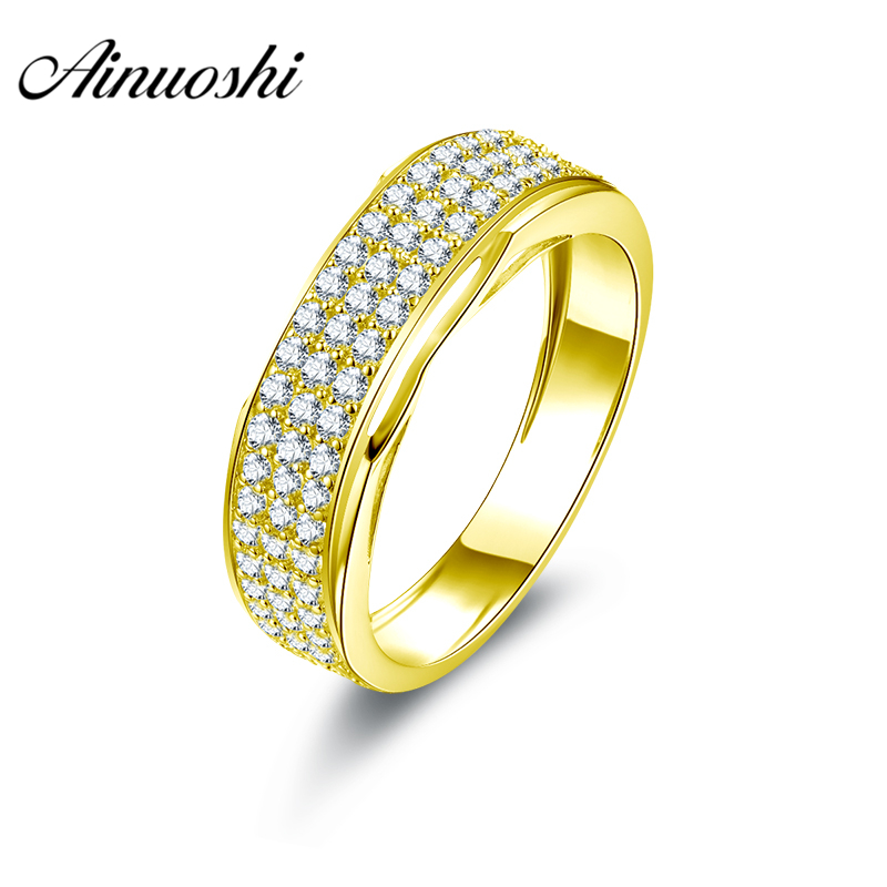 AINUOSHI Luxury Men Band 10K Solid Yellow Gold Male Ring 3 Rows Drill Cluster Ring Wedding Engagement Gold Jewelry 3.9g Men Ring цена и фото