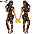 New Autumn Long Pants Suits Fashion unitards emoji Print Full Length Outfits Women 2 Pieces Club woman jumpsuits Rompers