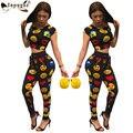 Nuevo Otoño Pantalones Largos Trajes de Moda unitards emoji Imprimir Encuadre de Cuerpo Entero Mujer Trajes de 2 Unidades de la mujer Del Club del mono de Los Mamelucos