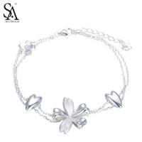 Sa Silverage 925 Sterling Silver Bracelet Flower Charm Bracelets Two Layer Chain Pure Silver Jewelry Women