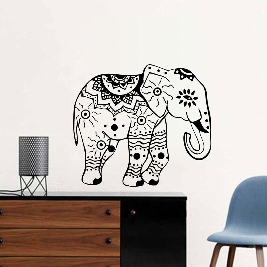 Elephant Wall Decals Indian Elephants Lotus Vinyl Decal Sticker ...