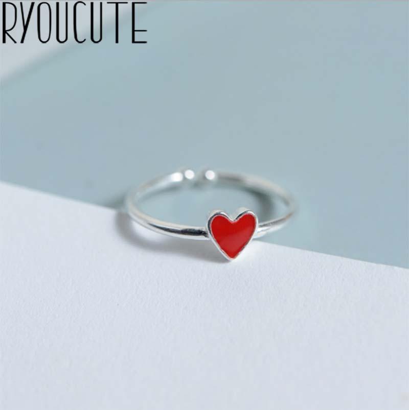 Женское кольцо в стиле ретро, серебряное кольцо с красным сердцем, регулируемое в богемном стиле