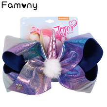 7 Large Leather Hairbows White Pompom Hair Bow Handmade Bling Hairgrips For Girls Kids Cartoon Party Accessories