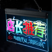 16x12 Desktop Flashing Fluorescent Illuminated Erasable LED Message Writing Board Clear Tempered Glass Remote Control YLW005