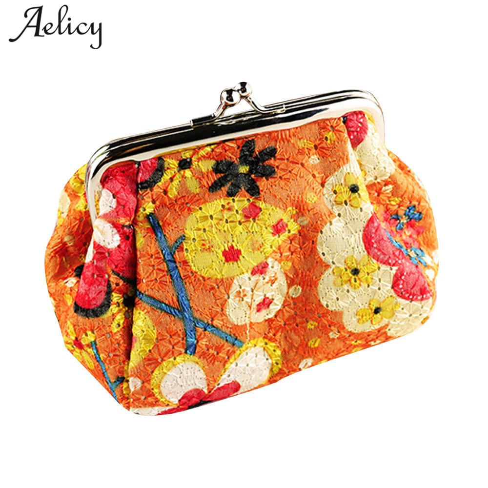 Aelicy Women Coin Purse Pouch Lady Retro Vintage Hobos Flower Small Wallet Hasp Purse Organizer Mini Card Holder Clutch Bag fashion women coin purses dots design mini girl wallet triple zipper clutch bag card case small lady bags phone pouch purse new