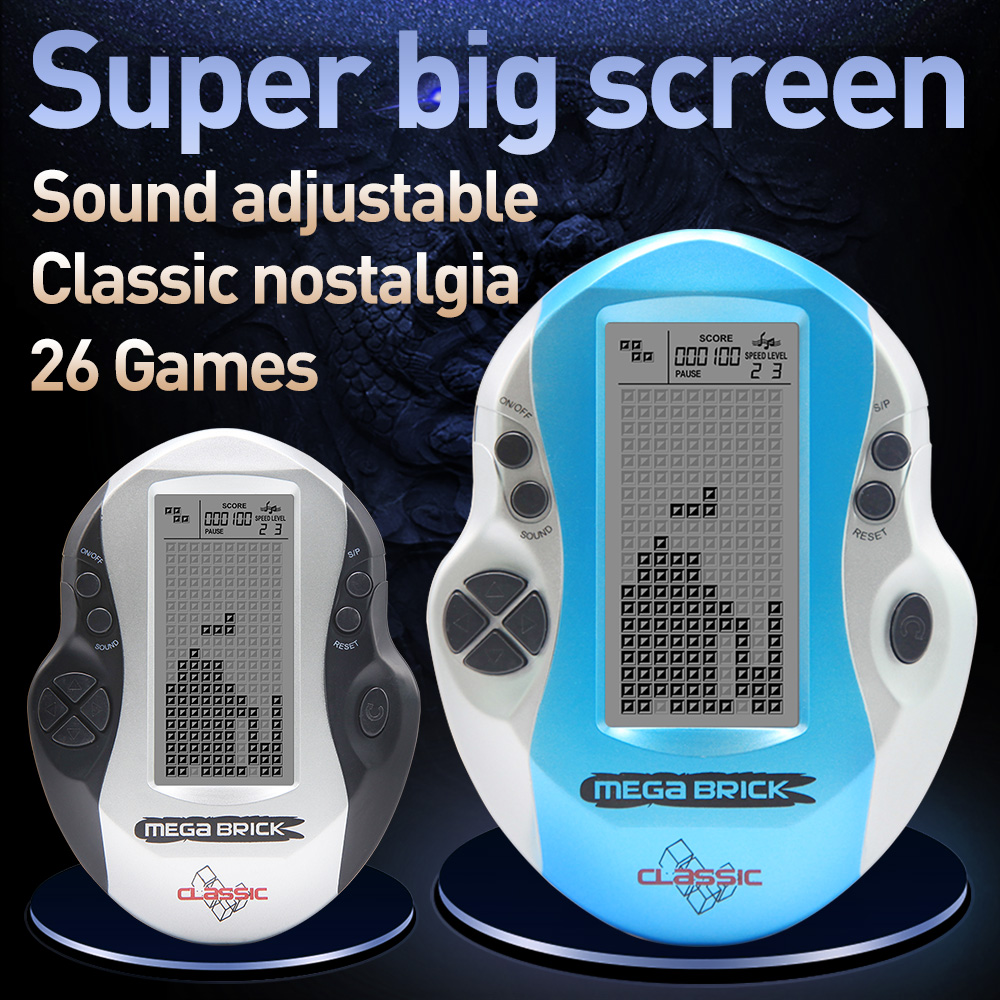 Kids Console Big Screen Handheld Tetris Console Retro Mega Tetris Game Console Built-in 26 Games Classic Intellectual Toys