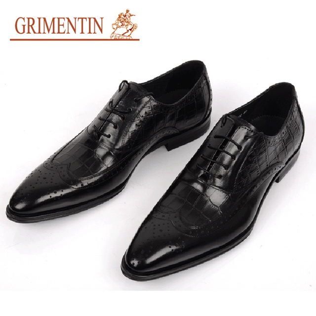 GRIMENTIN Brand Genuine Leather Mens Wedding Shoes Crocodile Style Black Brown Italian Men Formal