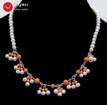 Qingmos Natural Pearl & Coral Chokers Necklace for Women with 5-6mm White Pearl Necklace & 3-7mm Pink Coral 17'' Jewelry nec6322 fast shipping stunning 8rows 6mm round crude pink coral necklace g165