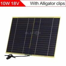 Sunwalk 10 Вт 18 В Панели солнечные с DC Выход и Батарея крокодил для DIY солнечной системы 12 В Батарея и Батарея Зарядное устройство