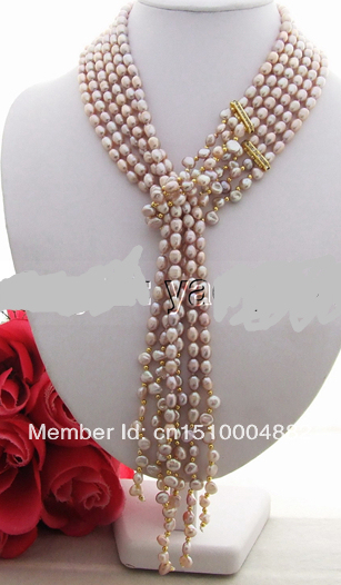 """shitou 0017 Excellent 50"""" Purple Pearl&keshi Pearl Necklace"""