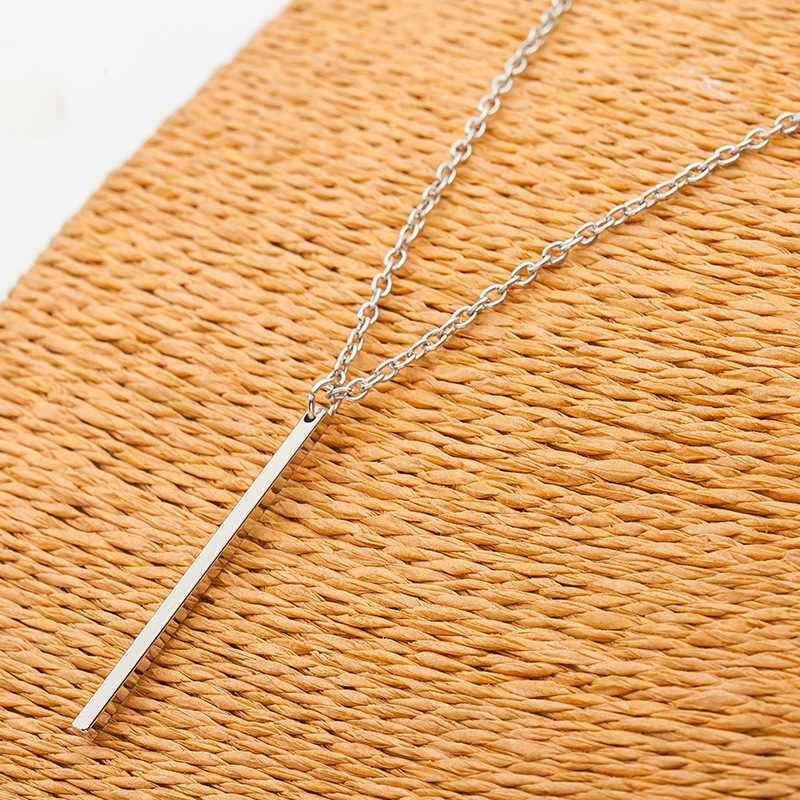 Proste delikatne Fine Bar naszyjniki długi pręt naszyjnik moda lato biżuteria złoty/srebrny kolor Collier Femme