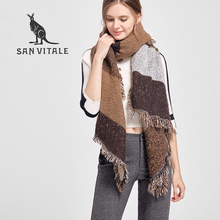 SAN VITALE Women Shawls Winter Warm Scarf Luxury Brand Soft Fashion Thicken Plaids Wraps Wool Cashmere Capes Scarves for Women