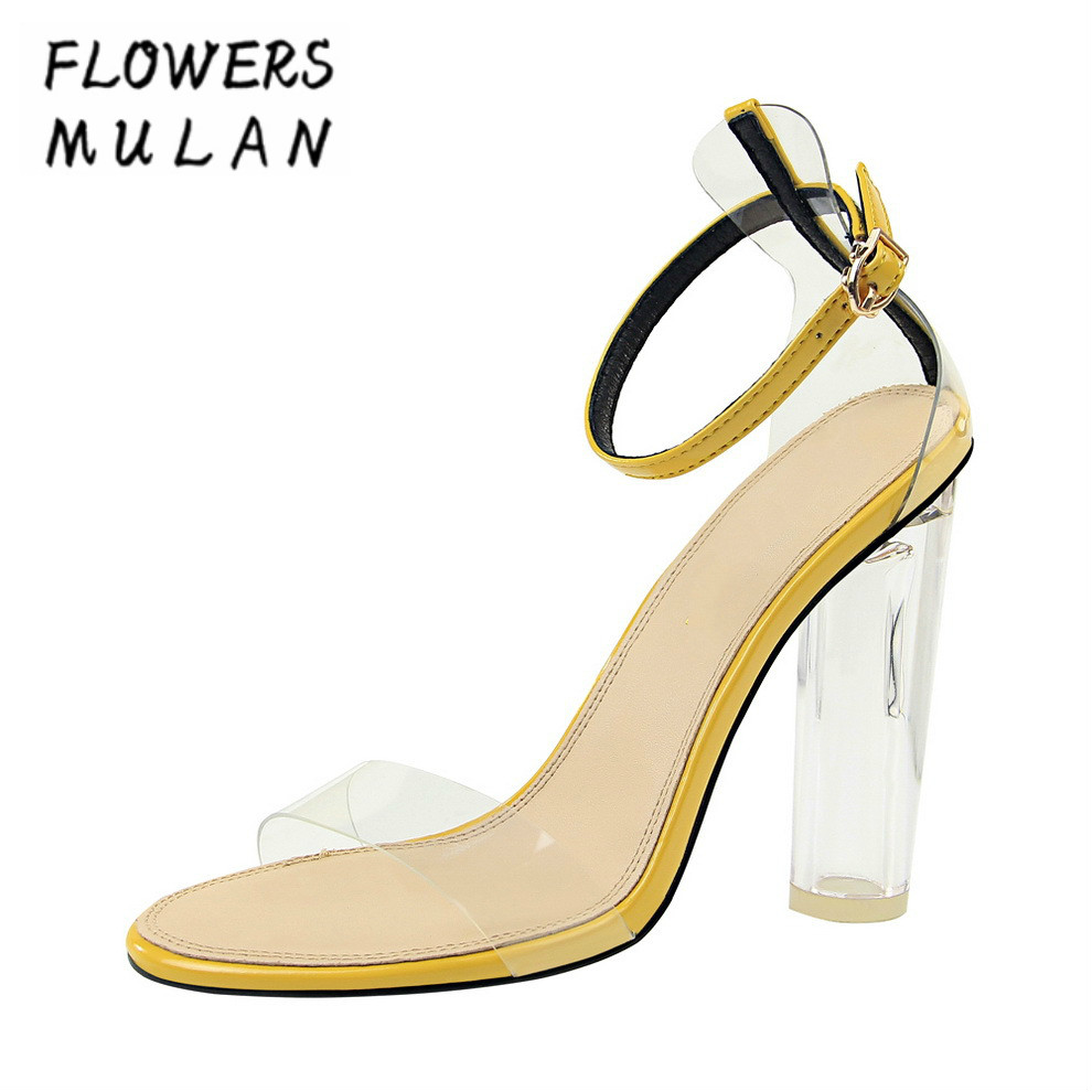 Fashion High Heels Crystal Heel Lady Sandals Shoes Summer One Buckle Peep Toe Cover Heel Gladiators Chic Transparent PVC UpperFashion High Heels Crystal Heel Lady Sandals Shoes Summer One Buckle Peep Toe Cover Heel Gladiators Chic Transparent PVC Upper