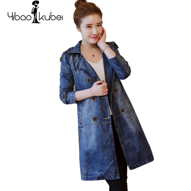 cb5ed2174d Jeans Long Trench Coat 2018 Winter Fashion Women Denim Loose Elegant Double  Breasted Plus Size Cotton Classic Female Overcoat