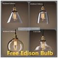 Бесплатная доставка Новый Винтажный подвесной светильник из меди и прозрачного стекла E27 подвесной светильник AC110-240V подвесной светильник ...