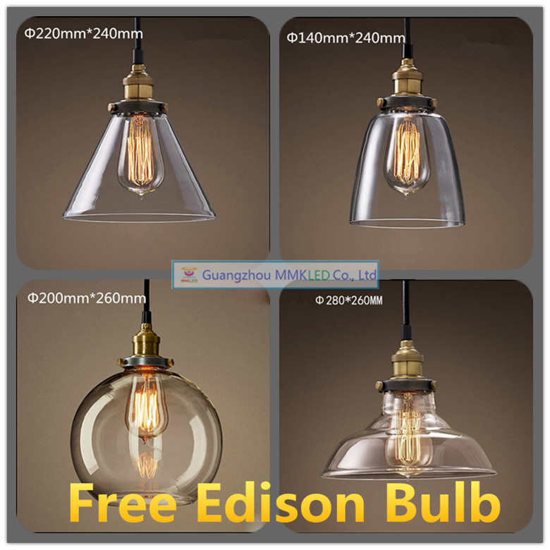 Free shipping New vintage pendant light copper clear glass E27 hanging lamp  AC110-240V pendant lamp for home decor restaurant