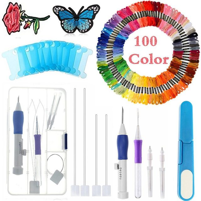 Magic Embroidery Pen Punch Needles,Embroidery Stitching Punch Set Craft Tool Including Threads for DIY Sewing Knitting Patchwork