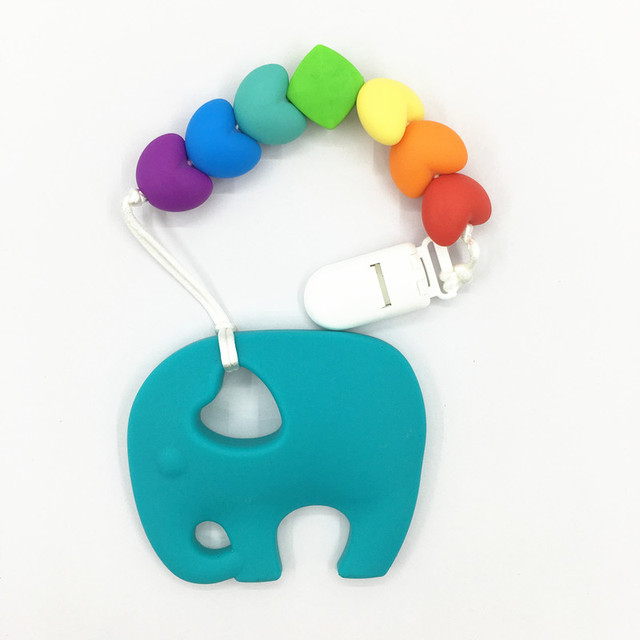Aliexpress buy bpa silicone baby teething pendant clips bpa silicone baby teething pendant clips silicone teething pacifier clip with large elephant pendant heart chew mozeypictures Gallery