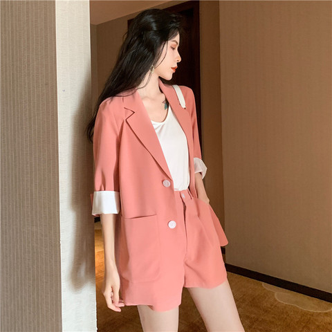 2019 Solid 2 Piece Set Women Summer Elegant Office Lady Casual Suits Two Piece Sets Top And Pants suit Lahore